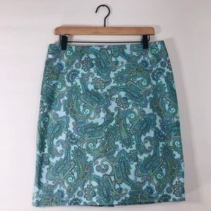 Jones New York turquoise paisley print skirt sz12
